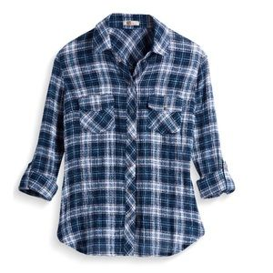 Kut from the Kloth snap up button down plaid shirt
